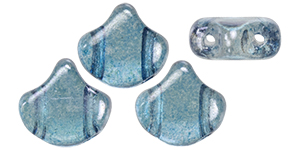"Matubo Ginkgo Leaf Bead 7.5 x 7.5mm Tube 2.5"" : Luster - Transparent Blue"