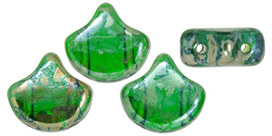 "Matubo Ginkgo Leaf Bead 7.5x7.5mm Tube 2.5"" : Chrysolite - Rembrandt"