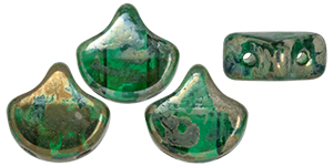 Matubo Ginkgo Leaf Bead 7.5 x 7.5mm (loose) : Emerald - Rembrandt