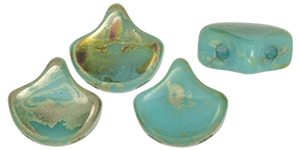 Matubo Ginkgo Leaf Bead 7.5x7.5mm (loose) : Blue Turquoise - Rembrandt