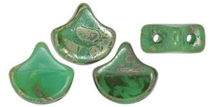 Matubo Ginkgo Leaf Bead 7.5x7.5mm (loose) : Opaque Turquoise - Rembrandt