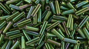 TOHO Bugle #2 (6mm) : Gold-Lustered Emerald