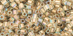 "TOHO Cube 1.5mm Tube 2.5"" : Gold-Lined Rainbow Crystal"