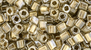 TOHO Cube 3mm : Gold-Lined Crystal
