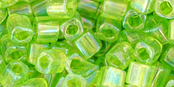 TOHO - Cube 4mm : Transparent-Rainbow Lime Green