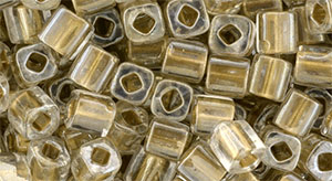 TOHO Cube 4mm : Gold-Lined Crystal