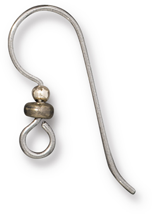 TierraCast : Earwire - French Hook, 20g, 2mm GF Bead & 3mm Brass Oxide Heishi, Niobium Grey