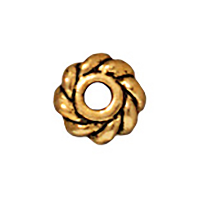 TierraCast : Heishi - 4 mm Twist, Antique Gold