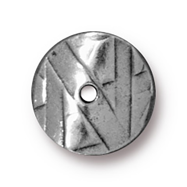 TierraCast : Bead - 10 mm Wavy Disk, Antique Pewter