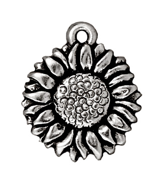 TierraCast : Drop Charm - 18 x 15mm, 1.25mm Loop, Sunflower, Antique Silver