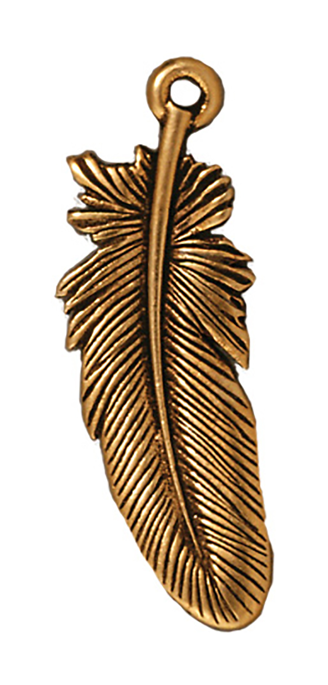 TierraCast : Drop Charm - 29.5 x 10.5mm, 1.25 Loop, Large Feather, Antique Gold