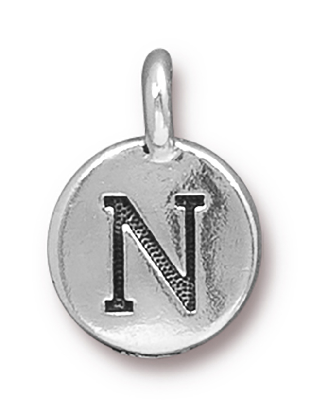 TierraCast : Charm - 17 x 12mm, 2.6mm Loop, Round Alphabet N, Antique Silver