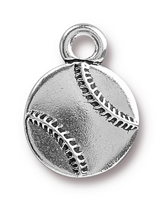 TierraCast : Charm - 17 x 13mm, 2.5mm Loop, Baseball, Antique Silver