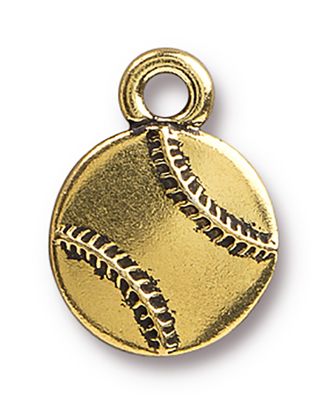 TierraCast : Charm - 17 x 13mm, 2.5mm Loop, Baseball, Antique Gold