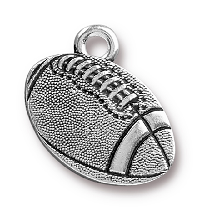 TierraCast : Charm - 18 x 17.5mm, 2.2mm Loop, Football, Antique Silver