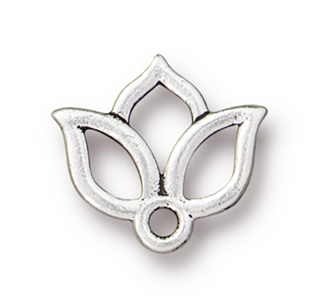 TierraCast : Charm - 15 x 13mm, 1.6mm Loop, Open Lotus, Antique Silver
