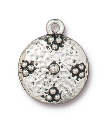 TierraCast : Charm - 19 x 16mm, 1.7mm Loop, Opulence, Antique Silver