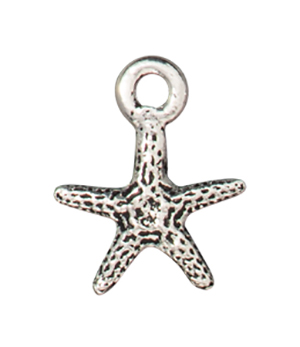 TierraCast : Charm - 13 x 10mm, 1.6mm Loop, Tiny Seastar, Antique Silver