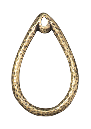 TierraCast : Charm - Stich Around 20X30mm Teardrop, Brass Oxide