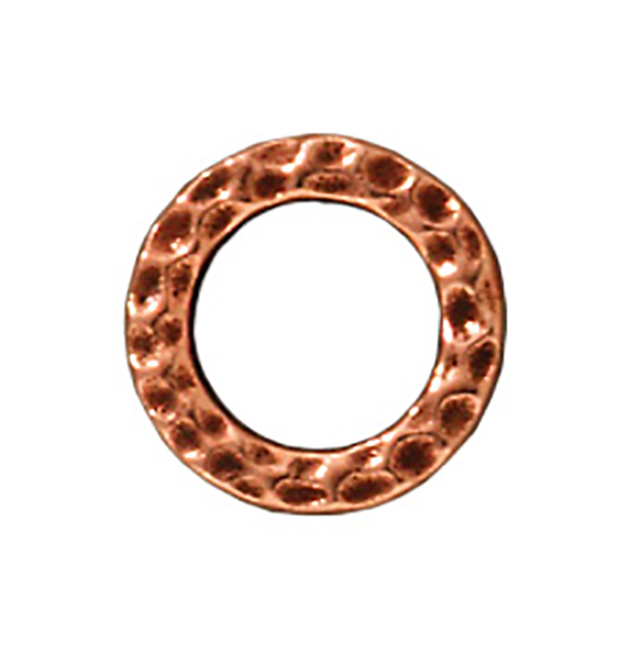 TierraCast : Link - 9mm, 5.7mm Hole, Small Hammertone Ring, Antique Copper