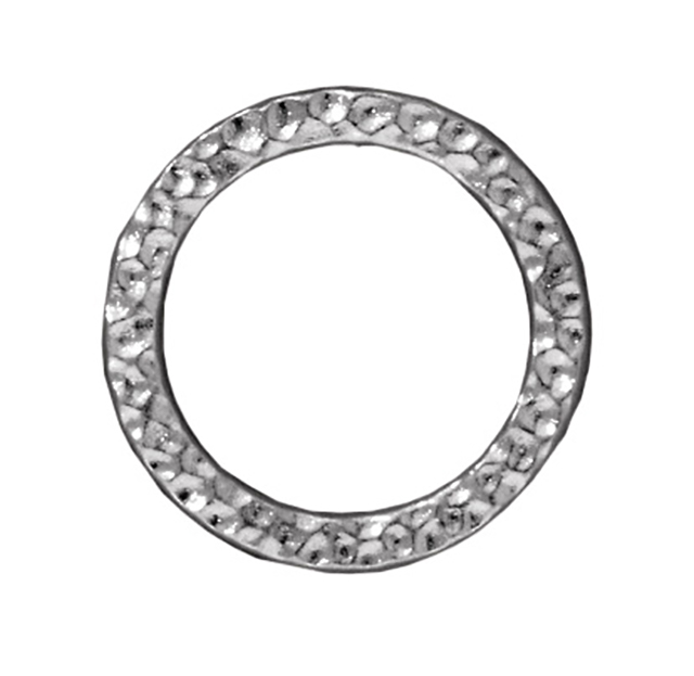 TierraCast : Link - 19mm, 14.3mm Hole, Large Hammertone Ring, Rhodium-S