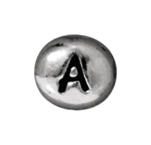 TierraCast : Bead - 7 x 6mm, 1mm Hole, Letter A, Antique Rhodium