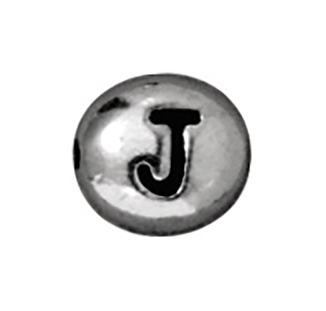 TierraCast : Bead - 7 x 6mm, 1mm Hole, Letter J, Antique Rhodium