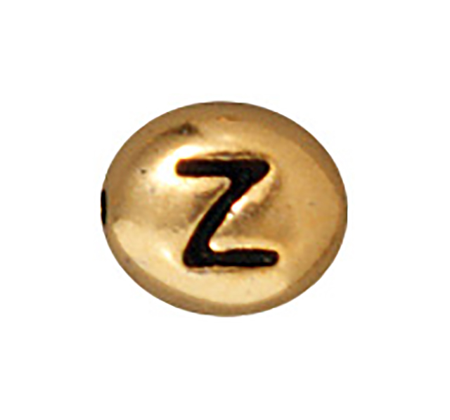TierraCast : Bead - 7 x 6mm, 1mm Hole, Letter Z, Antique Gold