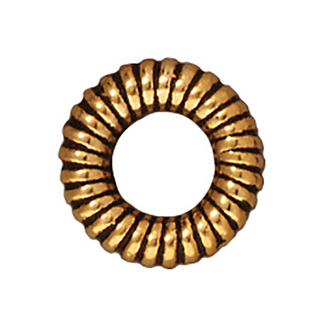 TierraCast : Bead - 10mm Large Coiled Ring, Antique Gold