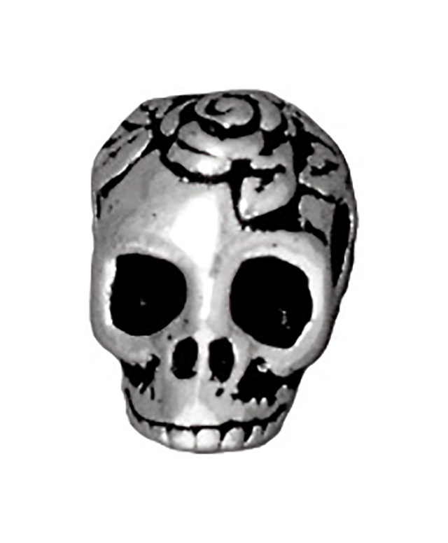 TierraCast : Bead - 10 x 10mm, 2.5mm Hole, Skull LH, Antique Silver