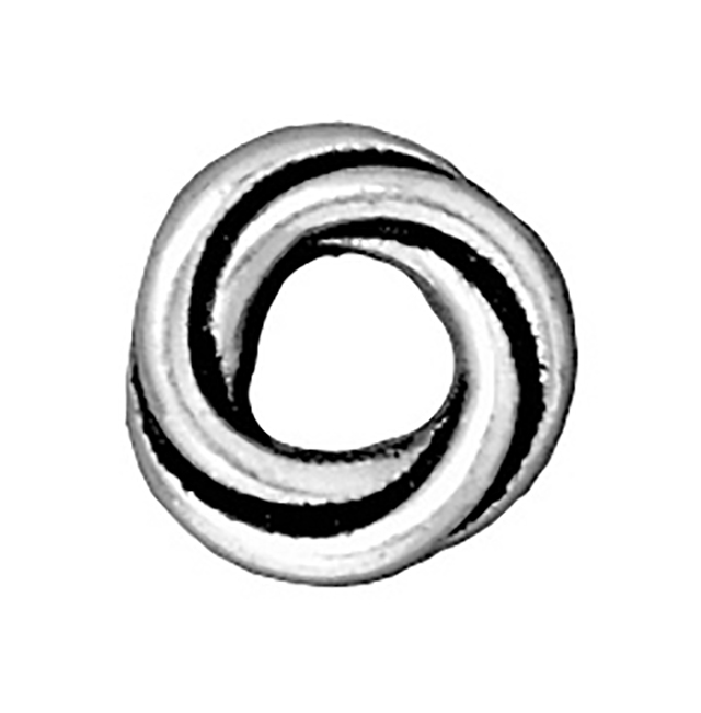 TierraCast : Bead - 10 mm Twisted Spacer, Antique Silver