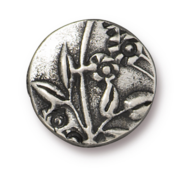 TierraCast : Puffed Bead - 14.5mm, 1.5mm Hole, Jardin, Antique Pewter