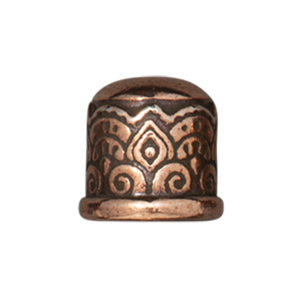 TierraCast : Cord End - 6mm Temple,  No Loop, Antique Copper