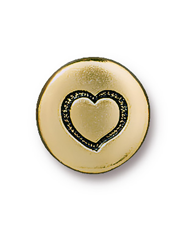 TierraCast : Button - 12mm, 2.3mm Loop, Small Heart, Antique Gold