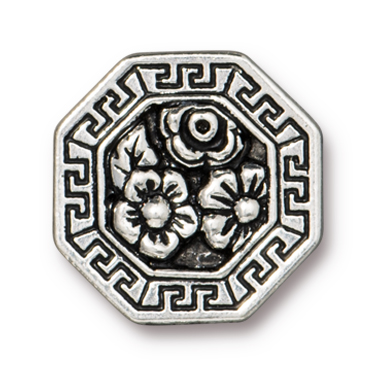 TierraCast : Button - Blossom, Antique Silver