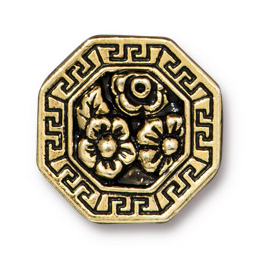 TierraCast : Button - 17.5 x 17.5mm, 3mm Loop, Blossom, Antique Gold
