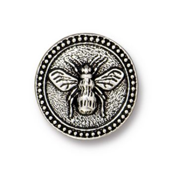 TierraCast : Button - Bee, Antique Silver