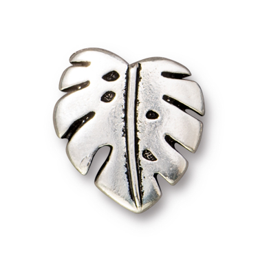 TierraCast : Button - Monstera, Antique Silver