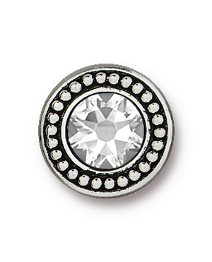 TierraCast : Button - Beaded Bezel with Swarovski SS34 Crystal, Antique Silver