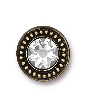 TierraCast : Button - Beaded Bezel with Swarovski SS34 Crystal, Brass Oxide