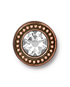 TierraCast : Button - Beaded Bezel with Swarovski SS34 Crystal, Antique Copper