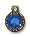 TierraCast : Drop Charm - SS34 Beaded Bezel with Sapphire Crystal, Brass Oxide