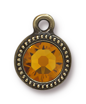 TierraCast : Drop Charm - SS34 Beaded Bezel with Topaz Swarovski Crystal, Brass Oxide