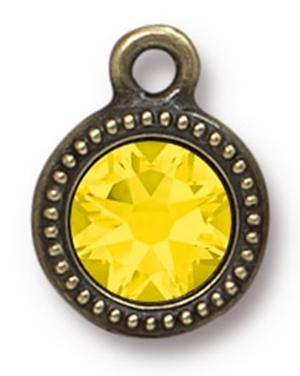 Tierracast : Drop Charm - SS34 Beaded Bezel Yellow Opal, Brass Oxide