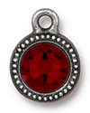 TierraCast : Drop Charm - SS34 Beaded Bezel with Siam Crystal, Antique Pewter