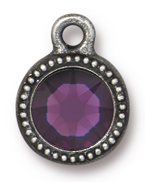 TierraCast : Drop Charm - SS34 Beaded Bezel with Amethyst Swarovski Crystal, Antique Pewter