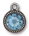 TierraCast : Drop Charm - SS34 Beaded Bezel with Aquamarine Crystal, Antique Pewter