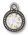 TierraCast : Drop Charm - SS34 Beaded Bezel with Swarovski Crystal, Antique Pewter