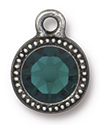 TierraCast : Drop Charm - SS34 Beaded Bezel with Emerald Swarovski Crystal, Antique Pewter