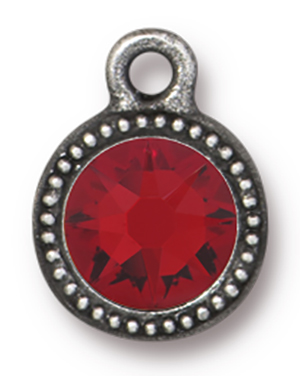 TierraCast : Drop Charm - SS34 Beaded Bezel with Light Siam Swarovski Crystal, Antique Pewter
